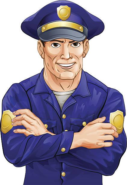 happy polizisten - rechtsassistent stock-grafiken, -clipart, -cartoons und -symbole