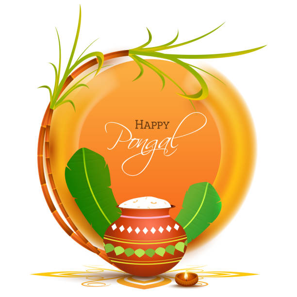 Happy Pongal Celebration With Mud Pot Full Of Pongali Rice, Banana Leaves, Sugarcane, Lit Oil Lamp On Orange And White Background. vector art illustration