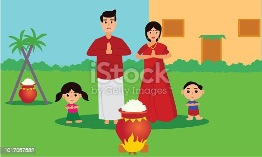 istock Happy Pongal celebration with sugarcane and pot of rice. Young couple offering prayers. 1017057582