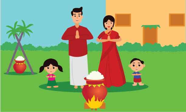 Happy Pongal celebration with sugarcane and pot of rice. Young couple offering prayers. Indian cultural festival celebration concept illustration vector. indian family stock illustrations
