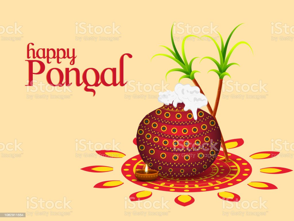 Happy Pongal Greeting Card Traditional Pot Sugarcane And Illuminated