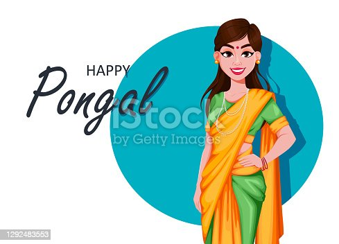 istock Happy Pongal greeting card with Indian girl 1292483553