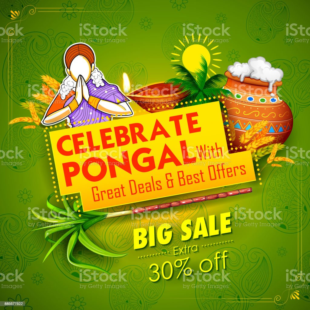 Happy pongal holiday harvest festival of tamil nadu south india sale happy pongal holiday harvest festival of tamil nadu south india sale and advertisement background royalty m4hsunfo