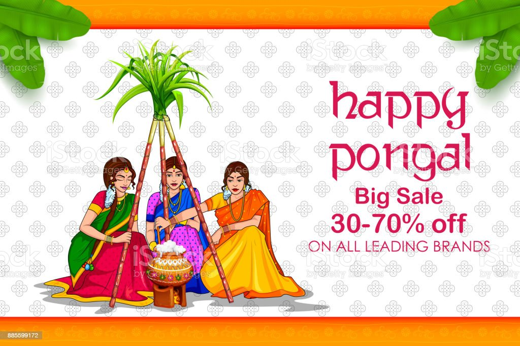 Happy Pongal Holiday Harvest Festival of Tamil Nadu South India Sale and Advertisement background