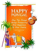 Happy Pongal Holiday Harvest Festival of Tamil Nadu South India greeting background