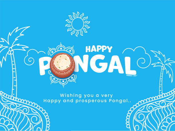 Happy Pongal Text With Top View Rice Mud Pot, Line Art Coconut Trees And Sun God On Blue Background. vector art illustration