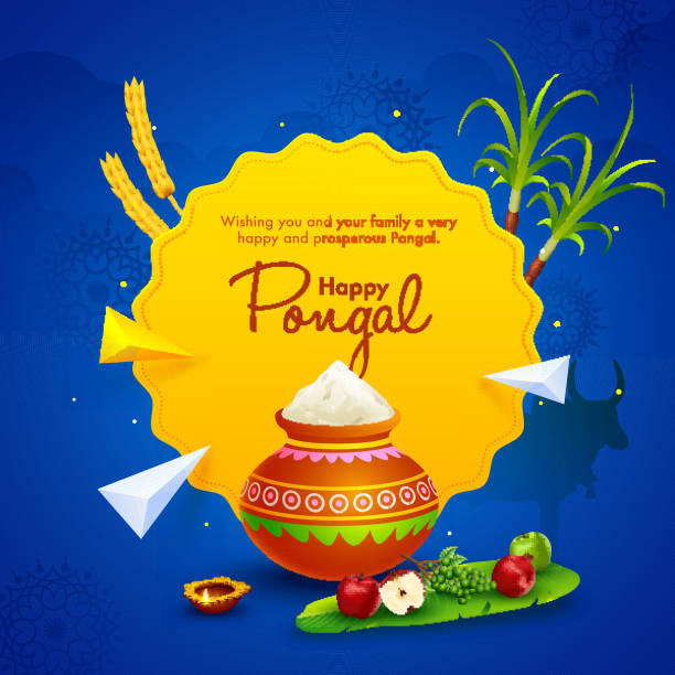 Happy Pongal wishing card or poster design with rice mud pot, fruits, sugarcane, wheat ear and 3d geometric elements on blue background. vector art illustration