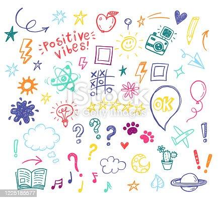 istock Happy positive Kids doodles, funny hand drawn set, education, kindergarden, adventure, birthday, holidays, social media, blogging illustrations 1225185577