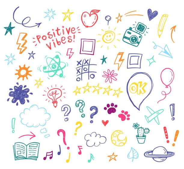 happy pozytywne dzieci doodles, zabawny ręcznie rysowane zestaw, edukacja, kindergarden, przygoda, urodziny, wakacje, social media, ilustracje blogów - bazgroły rysunek stock illustrations