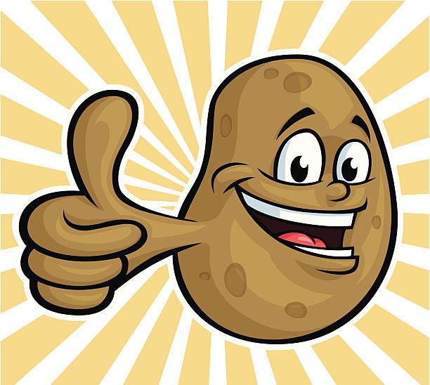 happy kartoffel - kartoffeln stock-grafiken, -clipart, -cartoons und -symbole