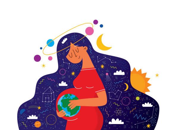 ilustraciones, imágenes clip art, dibujos animados e iconos de stock de embarazo feliz y linda mujer embarazada. ilustración vectorial de mujer que espera un bebé y espacio. ilustración vectorial de dibujos animados planos - planificación familiar