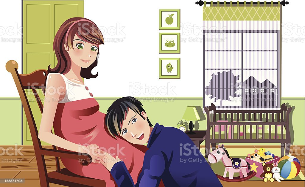 Happy pregnant couple royalty-free happy pregnant couple stock vector art & more images of abdomen