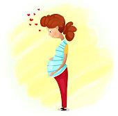 Happy pregnant women. Mothers day flat poster design. Vector cartoon illustration