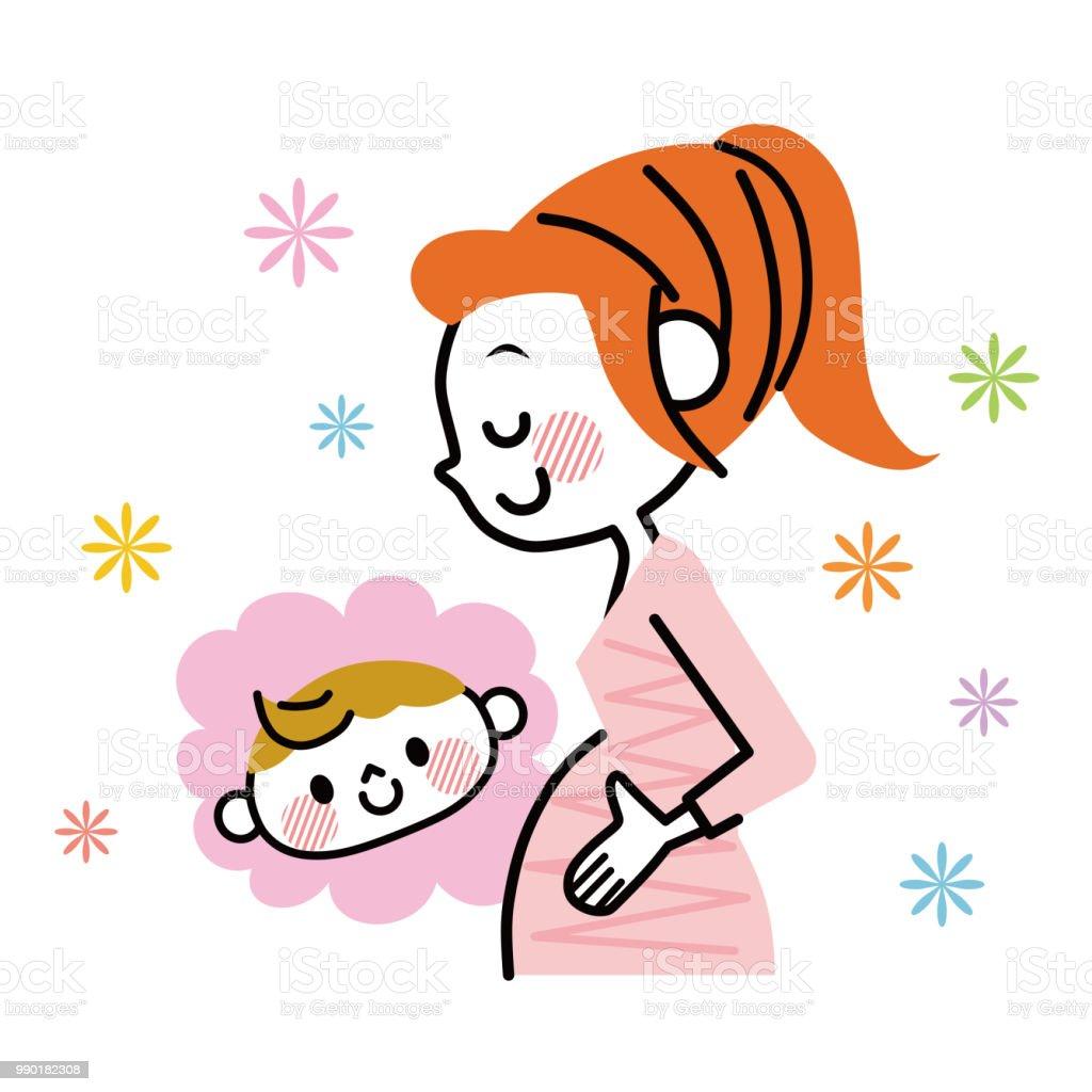 ます。妊娠中の女性の幸せ ベクターアートイラスト