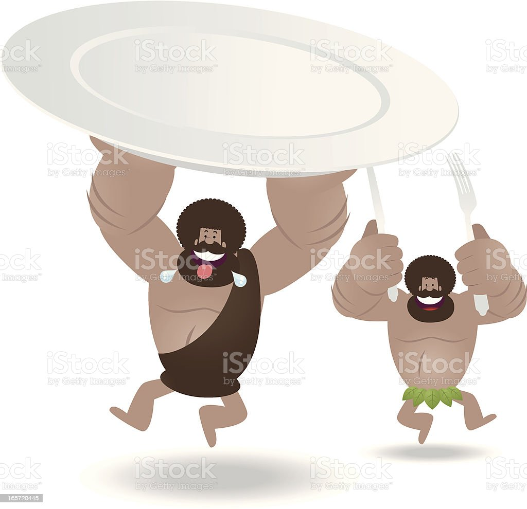 Happy Prehistoric Man Holding A Blank Plate, Fork And Knife vector art illustration