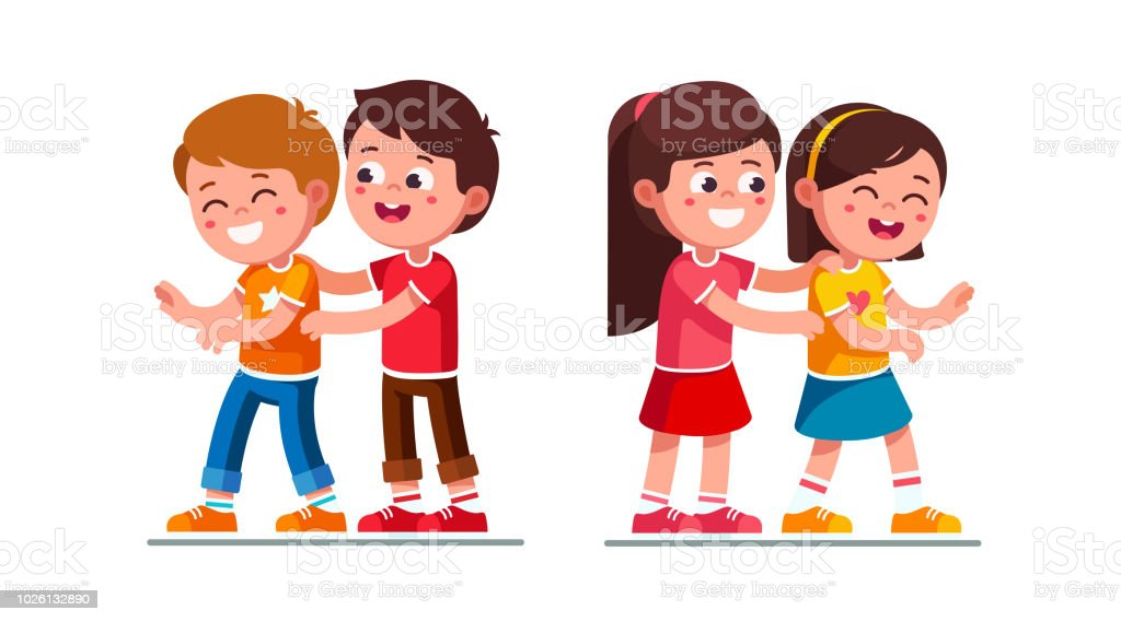 Happy Preschool Boy And Girl Kids Tickle Each Other Playing Together Having Fun Laughing Children Cartoon Characters Flat Vector Clipart Illustration Stock Illustration Download Image Now Istock