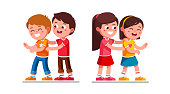 Happy preschool boy and girl kids tickle each other playing together having fun. Laughing children cartoon characters flat vector clipart illustration.