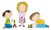 Happy preschool children playing together. Little boy is kneeling on the floor building bricks, cute girl with curly hair is standing and holding a picture and smiling boy is playing with choo choo train.
