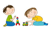 Happy preschool children playing together. Two little boys kneeling on the floor, one is building bricks and the other is playing with choo choo train. Original hand drawn illustration.