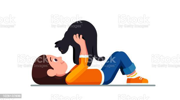 Happy preschool girl lying on ground holding black cat looking in its vector id1026132936?b=1&k=6&m=1026132936&s=612x612&h=dbaqlu lw8zcqnsllvycg4a6g6amr7de2dwvuhaagy0=