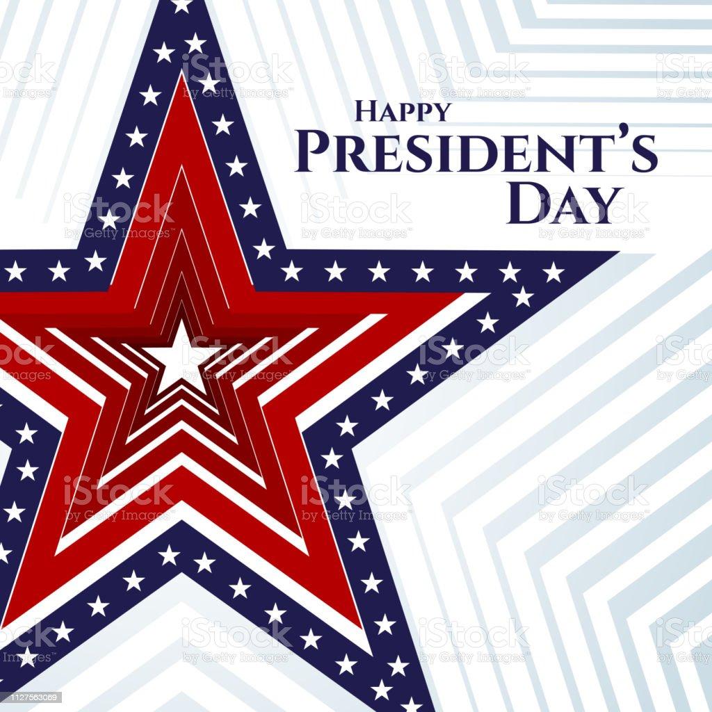 ハッピー大統領の日テキスト バナー星条旗星明るい背景の愛国心が強い