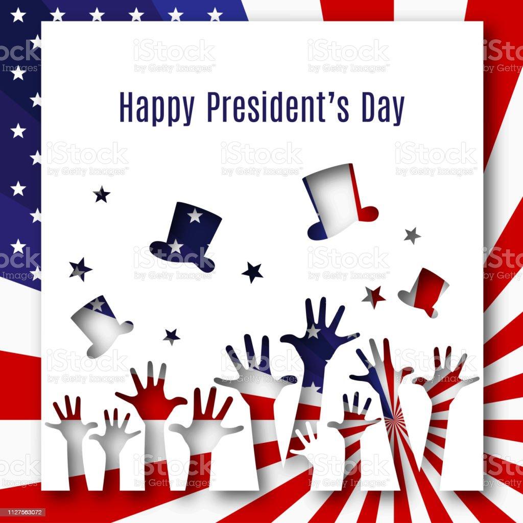ハッピー大統領の日テキスト バナー手アメリカ国旗の帽子愛国的テーマ