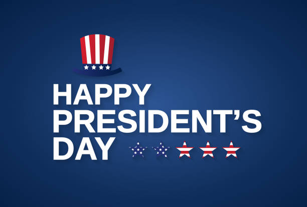 happy presidents day banner, card or background with hat. vector illustration. - presidents day stock illustrations, clip art, cartoons, & icons