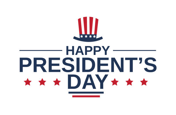 Happy Presidents Day card on white background with hat. Vector illustration. Happy Presidents Day card on white background with hat. Vector illustration. EPS10 president stock illustrations
