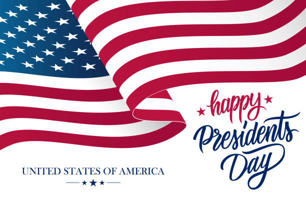 happy presidents day celebrate banner with waving united states national flag and hand lettering holiday greetings. - presidents day stock illustrations, clip art, cartoons, & icons