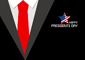 Happy presidents day design of red necktie vector illustration