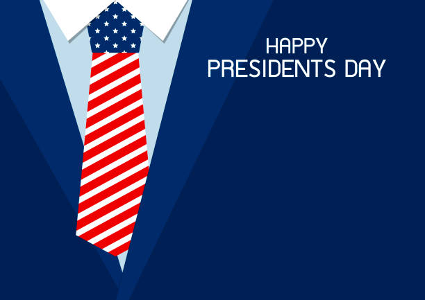 happy presidents day design of usa necktie vector illustration - presidents day stock illustrations, clip art, cartoons, & icons