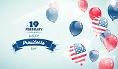 Happy Presidents` Day flyer, banner or poster. Holiday background with  flying balloons, paint splatters and text. Vector illustration