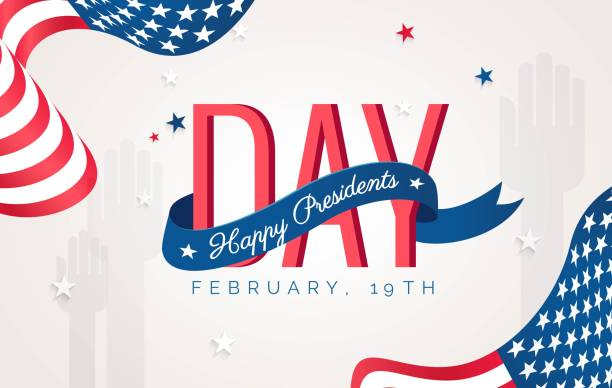 happy presidents` day flyer, banner or poster. - presidents day stock illustrations, clip art, cartoons, & icons