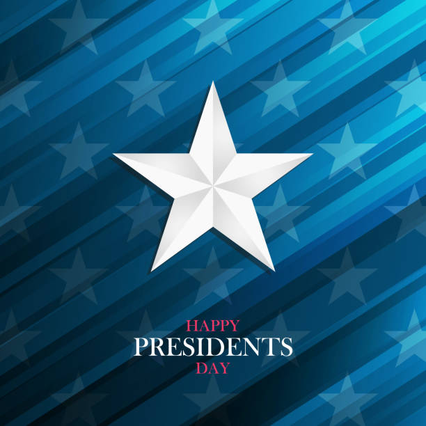 usa happy presidents day greeting card with silver star on blue background. - presidents day stock illustrations, clip art, cartoons, & icons