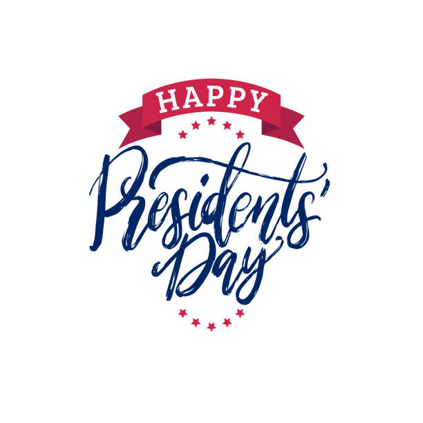 happy presidents day handwritten phrase in vector.used for holiday poster, greeting card etc. - presidents day stock illustrations, clip art, cartoons, & icons