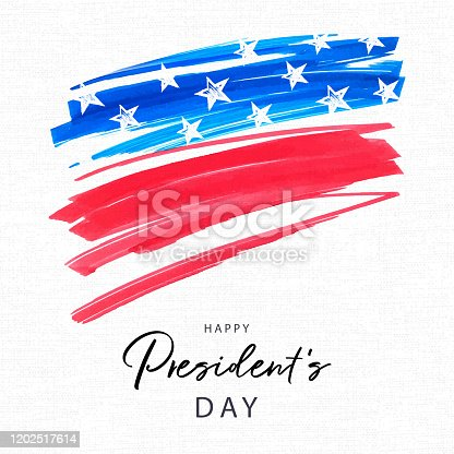 istock Happy Presidents Day holiday banner. Stylized image of the American flag, drawn by markers. USA Presidents Day background 1202517614