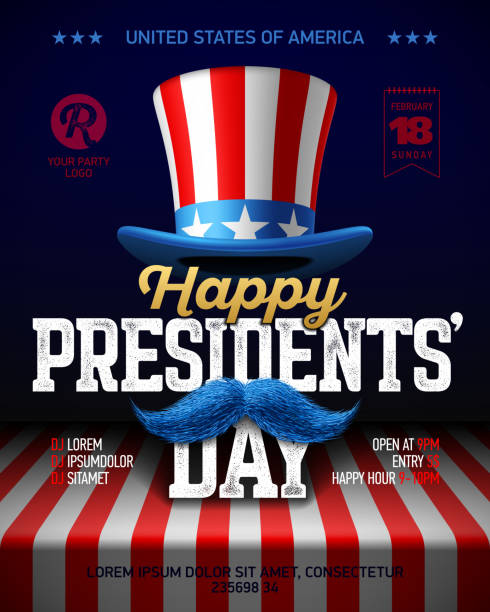 happy presidents' day party poster design - presidents day stock illustrations, clip art, cartoons, & icons