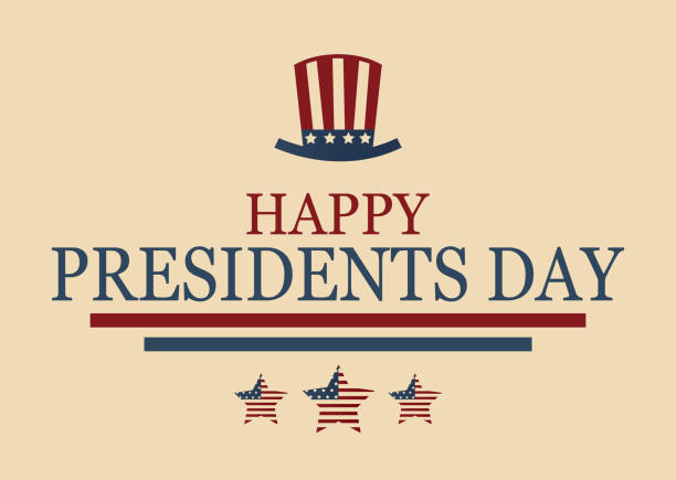 happy presidents day poster with hat and stars. vector illustration. - presidents day stock illustrations, clip art, cartoons, & icons