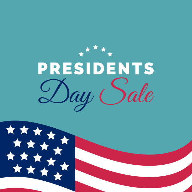 happy presidents day sale handwritten phrase in vector. national american holiday illustration with usa flag. - presidents day stock illustrations, clip art, cartoons, & icons