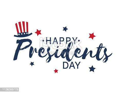 Happy Presidents Day vintage lettering on white background with hat and stars. Vector illustration.  EPS10
