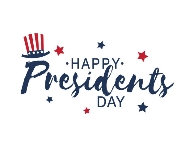 happy presidents day vintage lettering on white background with hat and stars. vector illustration. - presidents day stock illustrations, clip art, cartoons, & icons
