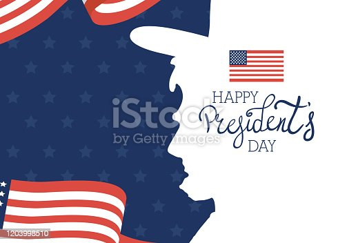 happy presidents day with lettering and usa flag vector illustration design