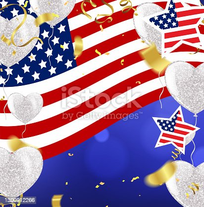 istock Happy Presidents Day with stars and ribbon. Script. Calligraphic design for print greetings card, sale banner, poster. Colorful Vector illustration Hand drawn text lettering USA 1300912266