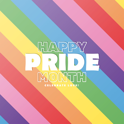 Happy pride month colorful background poster, vector illustration