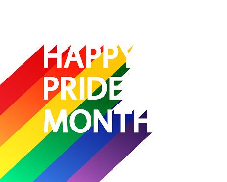 Happy Pride Month rainbow concept on white.