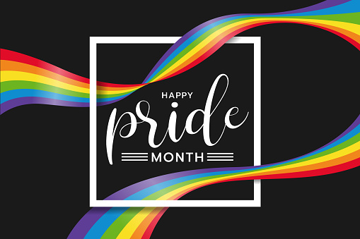 Happy pride month text word in white Square frame and rainbow flag wave around on black background vector design