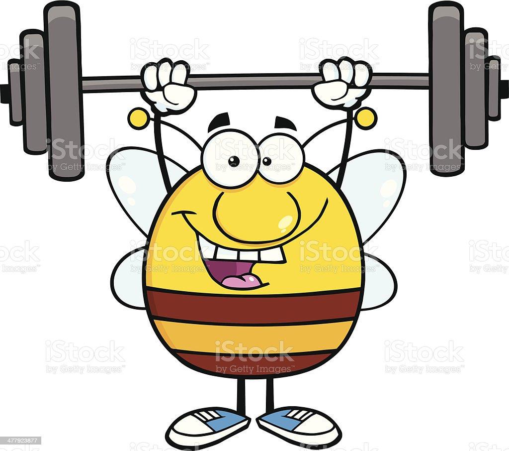 Happy Pudgy Bee Cartoon Mascot Character Lifting Weights royalty-free stock vector art