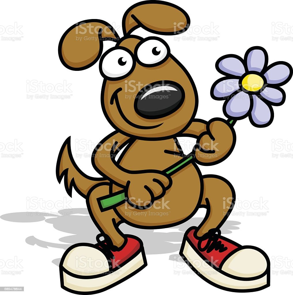 Happy Puppy with Flower royalty-free happy puppy with flower stock vector art & more images of animal