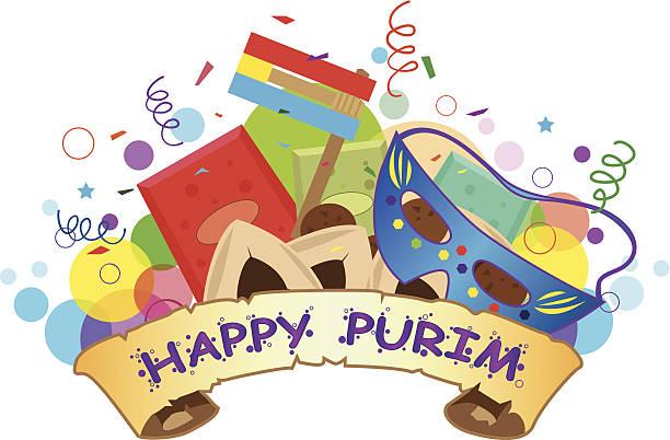 happy purim banner - purim stock illustrations, clip art, cartoons, & icons