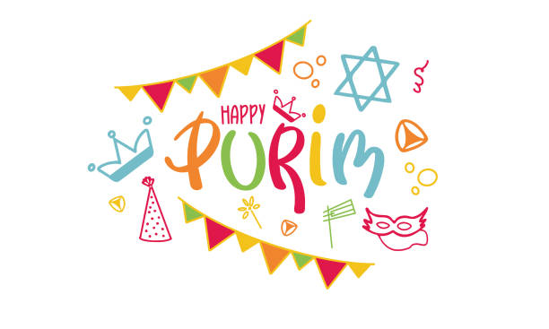 happy purim. traditional jewish religious holiday. сelebrated by a masquerade and festival. a set of elements: the star of david, masks, toys, cookies and other decor. vector hand painted illustration - purim stock illustrations, clip art, cartoons, & icons